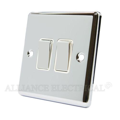 Miroir Chrome Poli Classique 2 Gang interrupteur 10 Amp Double 2G 2 voie