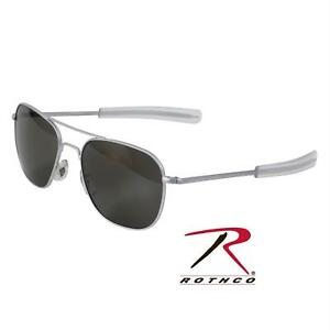 91279cbbeba AO Original Pilot Sunglasses Matte Chrome Bayonet Gray Glass Lens 30187
