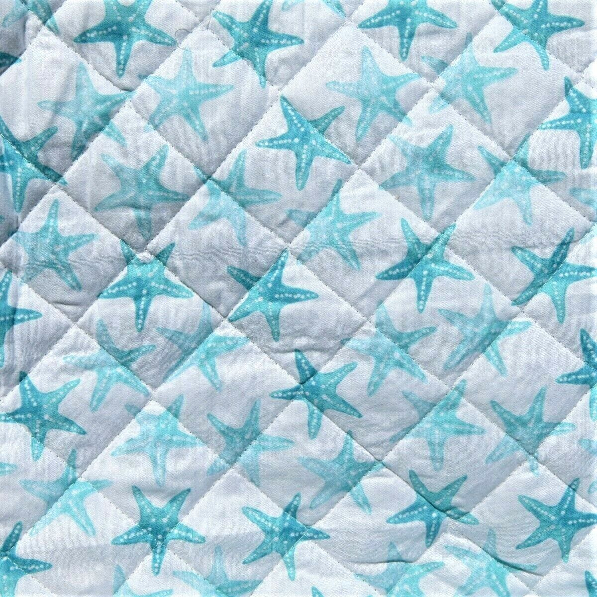 STARFISH AQUA TEAL OMBRE  3PC FULL QUEEN QUILT  BEACH Weiß TROPICAL REVERSIBLE