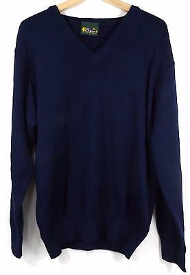 """Balmoral Men's Wool Blend V-Neck Jumper Navy Size 36""""-50/52"""" New with Tags"""