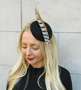 Black Brown Pheasant Statement Feather Fascinator Races Hat Headpiece Ascot 2303