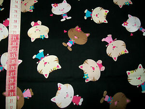 TIMELESS-TREASURES-Cute-Crazy-Cats-on-Black-Quality-Quilt-Cotton-FAT-1-4-OOP