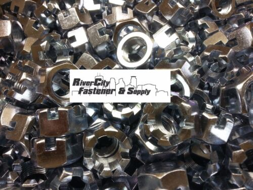 10 5//8-18 Slotted Hex Castle Nut Zinc Plated 5//8 x 18 Fine Thread