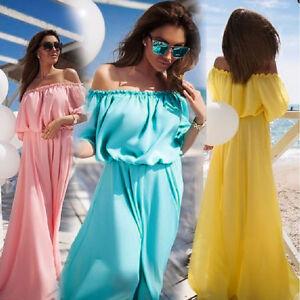 Women-Off-Shoulder-Long-Maxi-Evening-Party-Summer-Beach-Long-Dress-Short-Sleeve