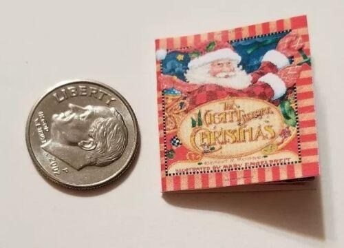 Miniature dollhouse twas night before Christmas Santa Rudolph book Barbie 1/12