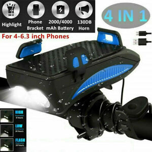 4in1-USB-Rechargeable-LED-Bicycle-Headlight-Bike-Horn-Phone-Holder-Cycling-NEW