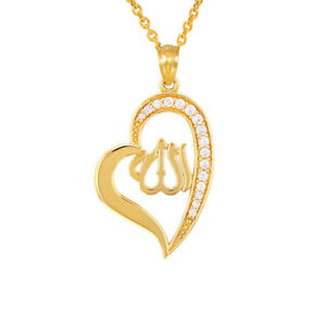 cf9e2aab590ff Details about Solid 10k Yellow Gold Diamond Allah Heart Pendant Necklace