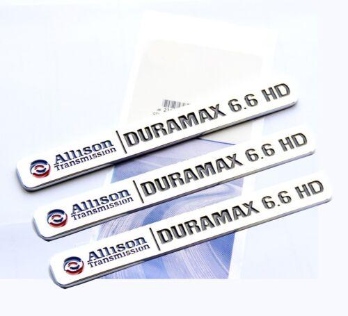 3x OEM ALLISON TRANSMISSION 6.6 HD VORTEC EMBLEMS BADGES GMC 2500HD 3500HD Bk LU