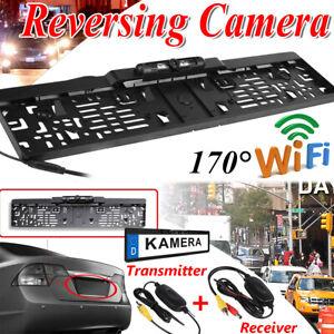 Funk-170-IR-LED-Rueckfahrkamera-kennzeichen-kabellos-Nummernschild-Einparkhilfe