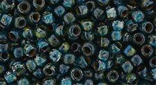 11/0 HYBRID Transparent Capri Blue - Picasso Round TOHO Seed Beads 10grams #Y322