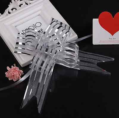 10pcs 50mm Organza Ribbon Pull Bows Wedding Car Decoration Gift Wrap Coloful UK