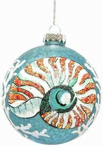 Sea Snail With White Ocean Coral Glass Ball Ornament