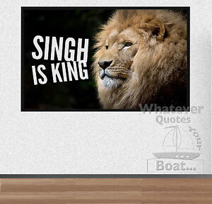 Singh Is King Print Poster Quote Lion Sikh Sikhism Motivation Life