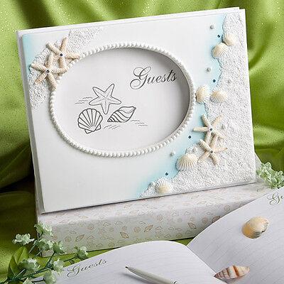 Beach Theme Summer Destination Wedding Guest Book & Pen Set Seashell Shells