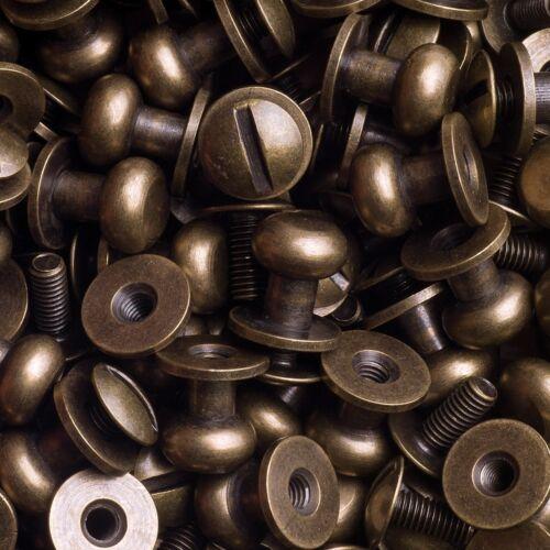 100 Knopfschraubnieten Patronentaschenverschluss 8mm messing-antik