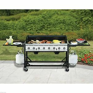 HUGE 8 Burner Event Grill Commercial Propane LP Gas BBQ Portable No Tax