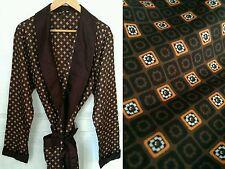 Vintage 1970s 1960s St Michael Brown Smoking Jacket Dressing Gown Medium Tricel