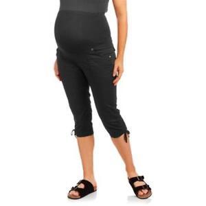 96c641d56b067 Maternity Full Panel Stretch Poplin Capri Pants With Drawstring Leg ...