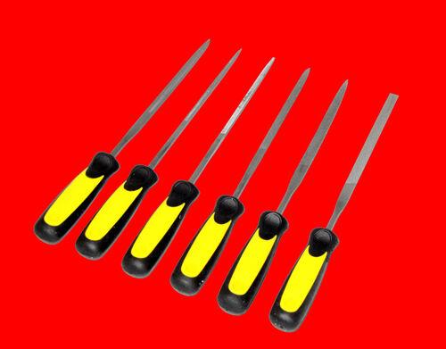 6 tlg Nadelfeilen Schlüsselfeilen Satz Modelbau Uhrmacher Feilen Gelb 150mm TP