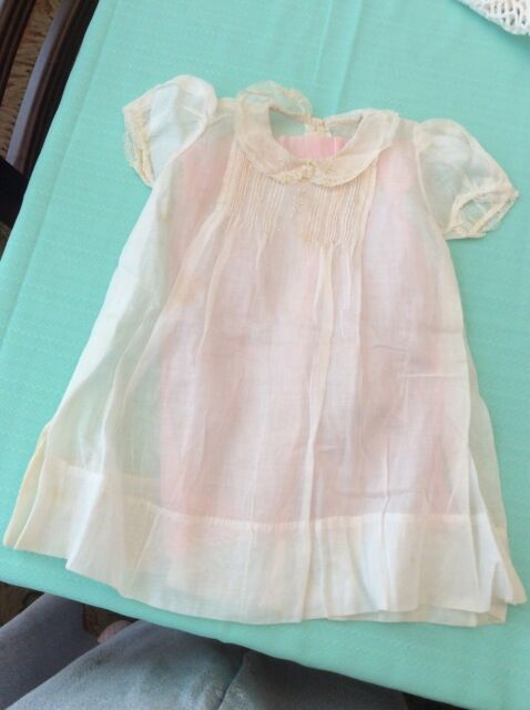 bca089bef Vintage White Baby Infant Dress Hand Sewn & Embroidered Batiste or Linen