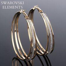 Boucles d'oreilles larges créoles  Swarovski® Elements polis doré