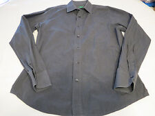 Mens United Colors of Benetton black long sleeve button up shirt dark grey EUC @