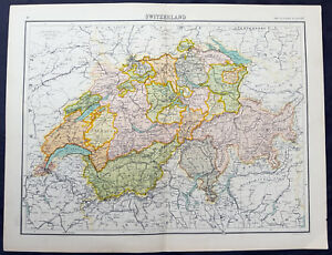 1890-Bartholomew-Original-Antique-Map-of-Switzerland