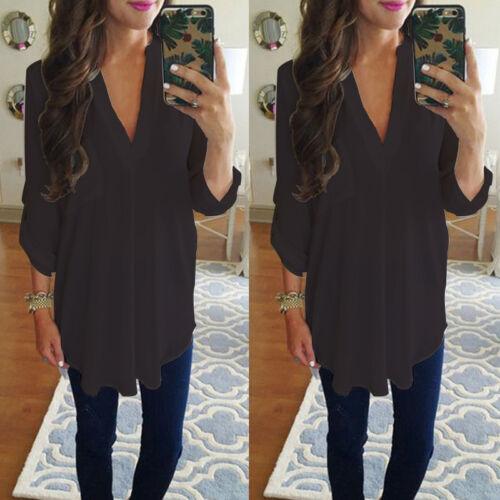 Damen V-Ausschnitt Chiffon Bluse Tunika Longshirt Rüsche Freizeit Hemd Übergröße