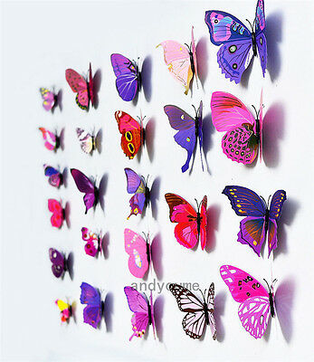 12pcs 3D Butterfly Wall Stickers Art Design Decals Home Decor Nursery Decoration