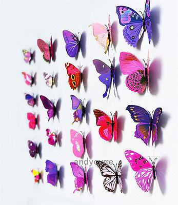 12pcs 3D Butterfly Wall Stickers Art Design Decals Home Decor Nursery Decoration