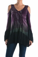 T-party Multi Color Bohemian Cut Out Shoulder Ruffle V Neck Toptmm4363