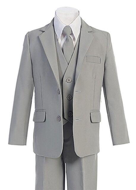 Magen Kids Boy SLIM FIT Formal Bridal 5 Pcs Set Suit S 2-20 GREY  2 Buttons 029