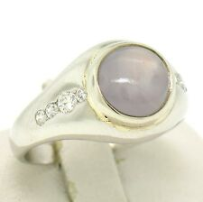 Vintage Men's Platinum 4.3ct Gray Star Sapphire and Diamond Band Ring