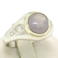 Vintage Men's Platinum 4.3ct Gray Star Sapphire and Diamond Band Ring
