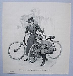 fahrrad radfahrer panne luft aufpumpen sch nes blatt holzstich um 1895 ebay