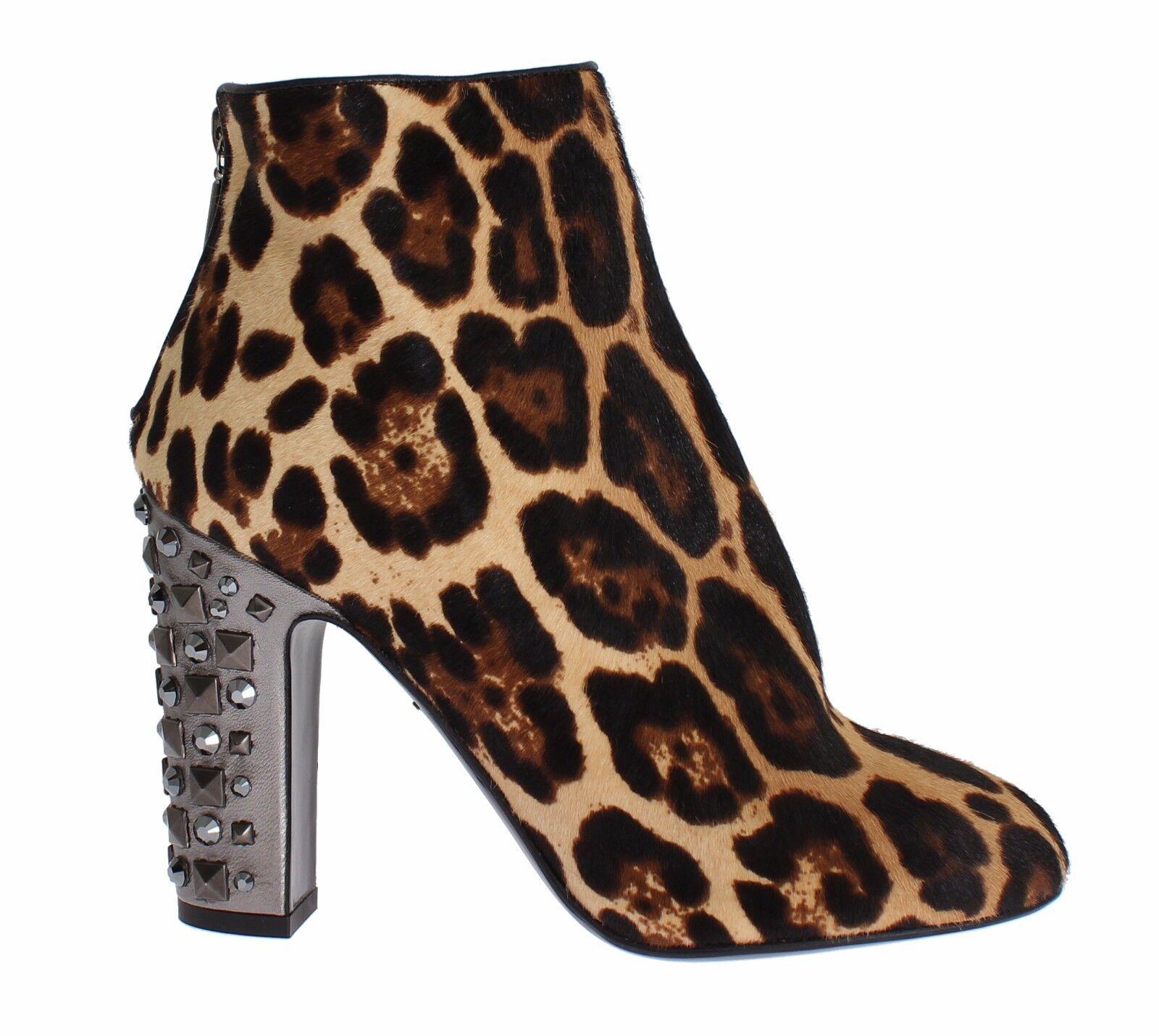 5196bedebe1 Nuevo Dolce   Gabbana Leopardo Pelo de Pony Cuero Botas Eu39.5 Us8.5 ...