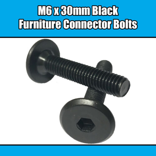 M6 x 30mm Black Furniture Connector Bolts Allen Joint Fixing Bed Cot Unit Table