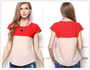 New-Women-039-s-Double-Colors-Chiffon-Loose-Party-Short-Sleeves-T-Shirt-Tops-Blouse