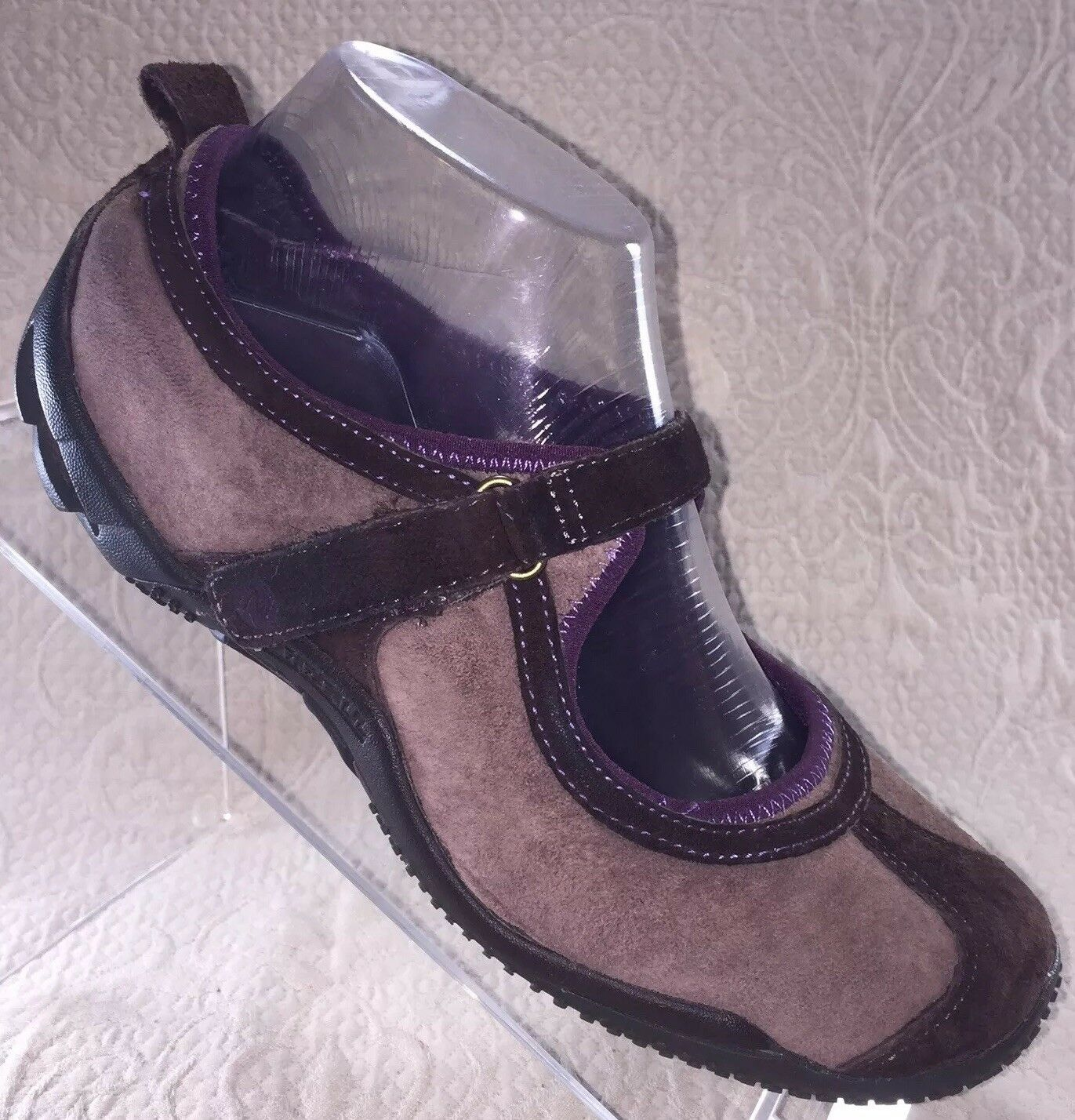 MERRELL Circuit MJ Womans Sz 7 Brown Tan Suede Slip On shoes Mary Janes Flats