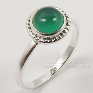 925-Solid-Sterling-Silver-GREEN-ONYX-Cabochon-Gemstone-Tiny-Ring-Choose-Any-Size