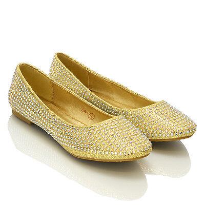 Mujer pedrería para boda mujer brillante dama de Honor Zapatos Bailarinas Talla