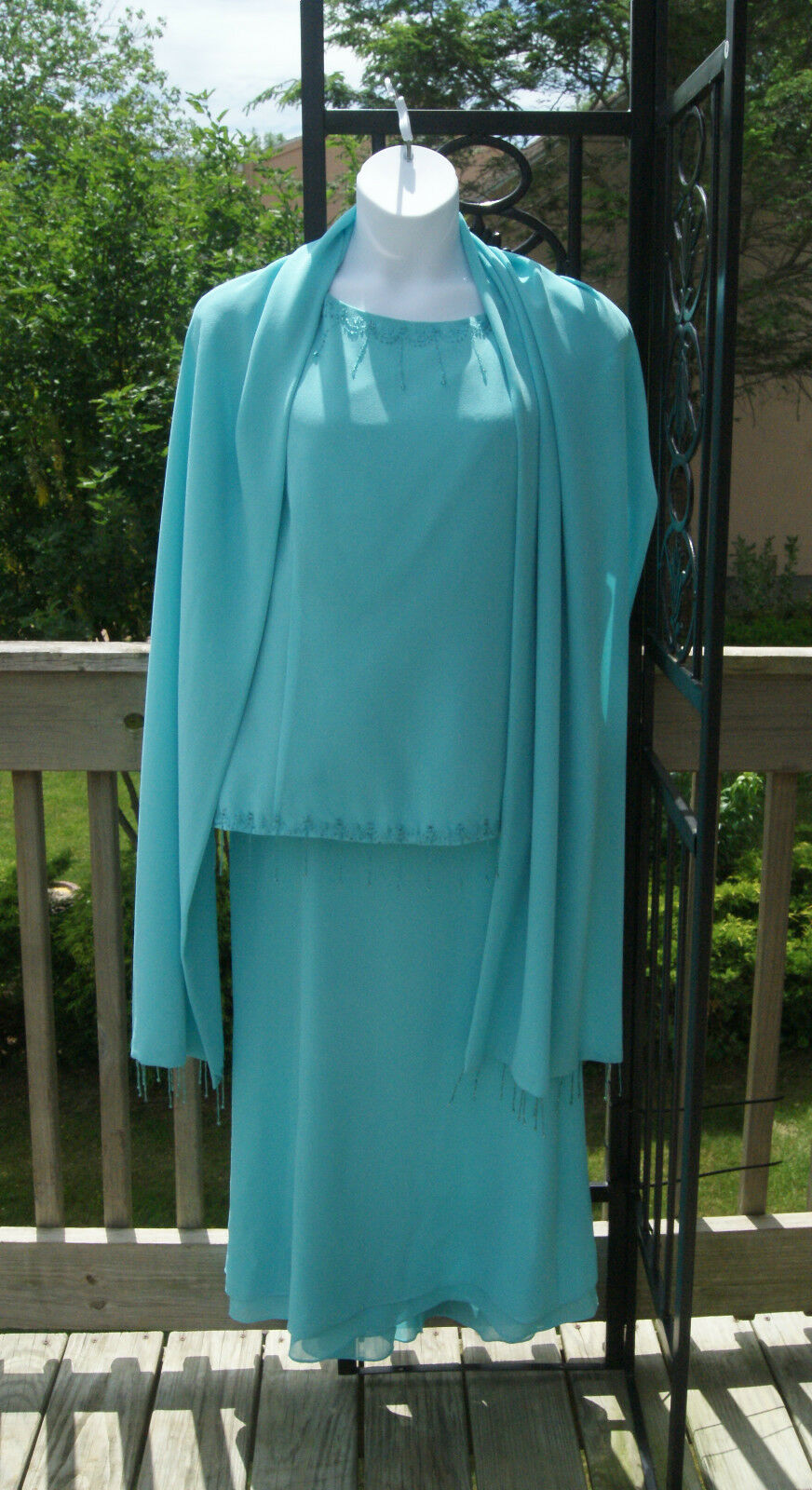 MISTY LANE 2Pc GOWN & Scarf Plus Size 22 Mother of Bride/Groom Cruise Wear NWOT