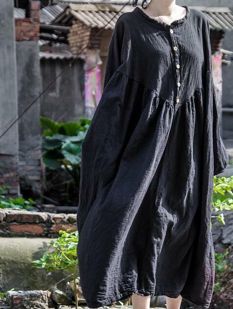 Womens Lantern Sleeves Cotton Linen Long Maxi Loose Dress Button Solid color E32