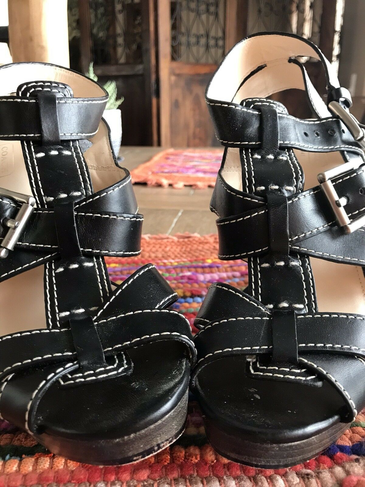Coach Strappy Leather Sandals Sz 8