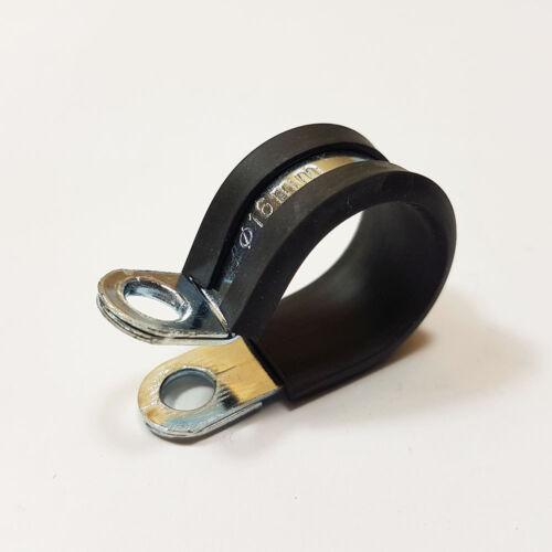 Clips P 16mm alineado Cinc Plateado De Goma Acero Suave Metal Abrazadera Manguera Diámetro del Cable