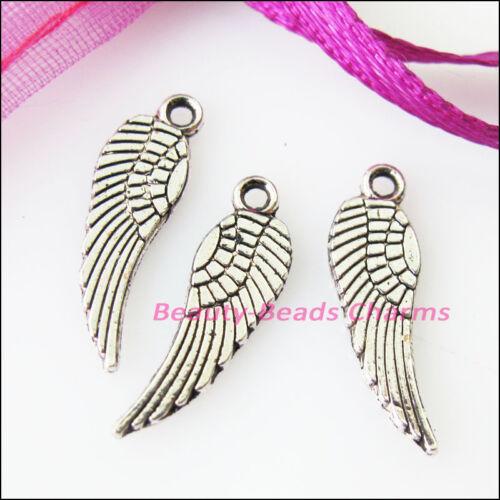 45Pcs Tibetan Silver Tone Tiny Wings Charms Pendants 5x17mm