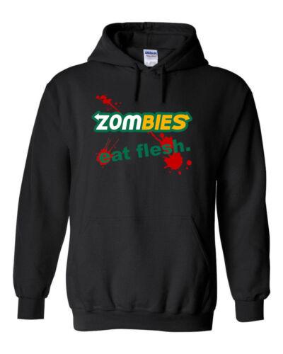Zombies Eat Flesh HOODIE Halloween Subway Parody Walking Dead Funny Horror