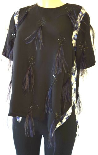 PRABAL FURUNG SILK BLACK SEQUINED EMBELLISHED WITH FEATHERS BLOUSE SIZE 10
