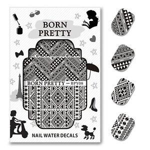 Born Pretty Water Decal Straight Line Nail Art Sticker 2 Patterns
