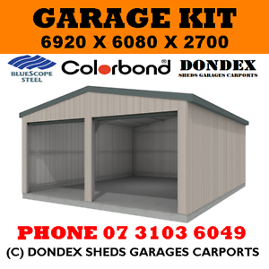 DONDEX SHEDS Double Garage Shed Kit 7x6x2.7 Zinc Roof Colorbond ...